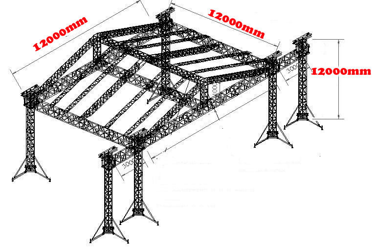 12*10*10M OEM High Loading Aluminum Stage Roofing Truss Systems With TUV and SGS